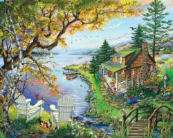 By The Lake Cottage / Cabin Jigsaw Puzzle