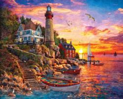 Lighthouse Sunset Sunrise / Sunset Large Piece