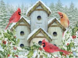 Cardinal Birdhouse Garden Jigsaw Puzzle