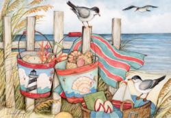 Sand Buckets Seascape / Coastal Living Jigsaw Puzzle