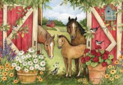 Heartland Barn Flowers Jigsaw Puzzle