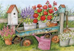 Blue Wagon Garden Jigsaw Puzzle