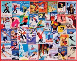 Ski Poster Collage Jigsaw Puzzle