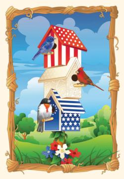 Star Spangled Birdhouse Fourth of July Jigsaw Puzzle