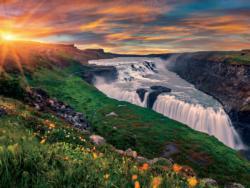 Gullfoss Waterfall Sunrise / Sunset Double Sided Puzzle