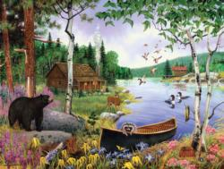 Black Bear and Cabin Cottage / Cabin Jigsaw Puzzle