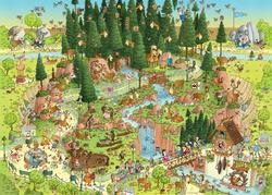 Black Forest Habitat (Funky Zoo) Forest Jigsaw Puzzle