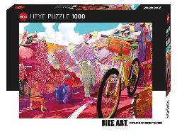 Bike Art, Tour in Pink Contemporary & Modern Art Jigsaw Puzzle