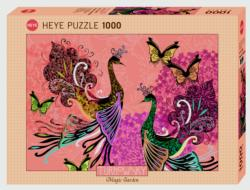 Peacocks & Butterflies Birds Jigsaw Puzzle
