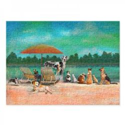 Dog Day at the Beach Dogs Jigsaw Puzzle