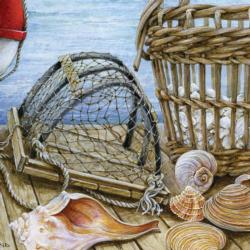 Shells on the Dock Seascape / Coastal Living Jigsaw Puzzle