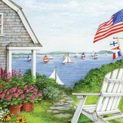 Sailboat Sighting Seascape / Coastal Living Jigsaw Puzzle