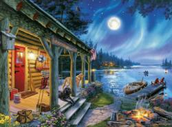 Moonlight Lodge Cottage / Cabin Jigsaw Puzzle