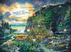Moonlight & Roses Cottage / Cabin Jigsaw Puzzle
