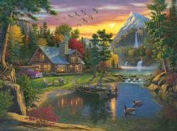 Mountain Paradise Cottage / Cabin Jigsaw Puzzle
