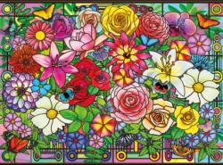 Stained Glass Bouquet Flowers Jigsaw Puzzle