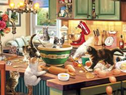 Kitten Kitchen Capers Domestic Scene Jigsaw Puzzle