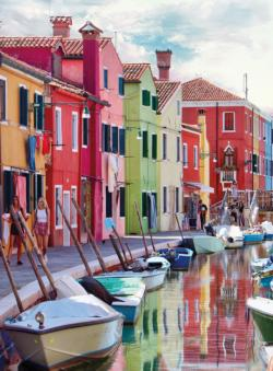 Blanc Series:The Canals of Burano Italy Seascape / Coastal Living Jigsaw Puzzle