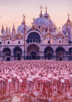 Pink Flamingo Palace Birds Jigsaw Puzzle
