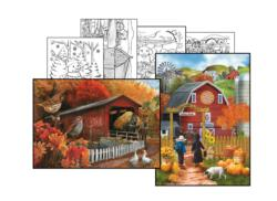 Tom Wood Coloring Page & Puzzle Set Farm Animals Jigsaw Puzzle