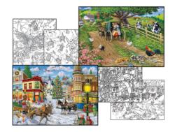 Joseph Burgess Coloring Page & Puzzle Set Farm Animals Jigsaw Puzzle