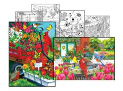 Nancy Wernersbach Coloring Page & Puzzle Set Flowers Jigsaw Puzzle