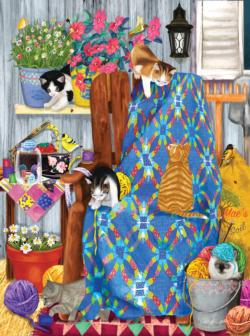 Porch Kittens Domestic Scene Jigsaw Puzzle