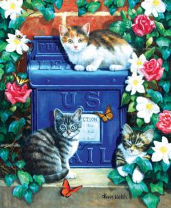 Mail Box Kittens - Scratch and Dent Flowers Jigsaw Puzzle