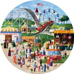 County Fair Grounds Folk Art Round Jigsaw Puzzle