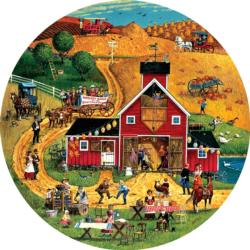 Harvest Dance Farm Round Jigsaw Puzzle