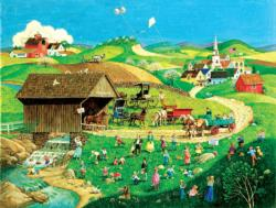 Easter Egg Hunt Americana & Folk Art Jigsaw Puzzle