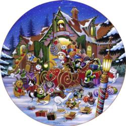 Here comes Santa Paws Christmas Round Jigsaw Puzzle