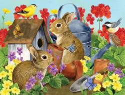 Bunnies and Birdhouses Flowers Jigsaw Puzzle