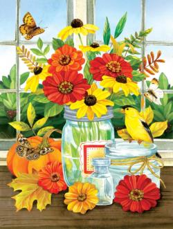 Autumn Jars Flowers Jigsaw Puzzle