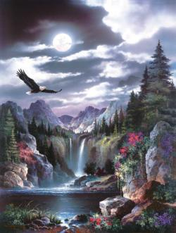 Moonlit Eagle Lakes / Rivers / Streams Jigsaw Puzzle