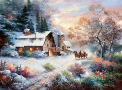 Snowy Evening Outing Snow Jigsaw Puzzle