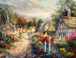 Down Cottage Lane Landscape Jigsaw Puzzle