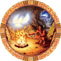 White Eagle Native American Round Jigsaw Puzzle