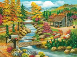 Fall Season Cottage / Cabin Jigsaw Puzzle