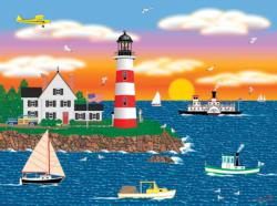 Triangle Point Lighthouse Boats Jigsaw Puzzle