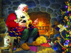 Fireplace Santa Domestic Scene Jigsaw Puzzle