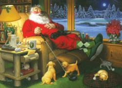 Golfing Santa Domestic Scene Large Piece