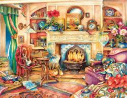 Fireside Embroidery Domestic Scene Large Piece