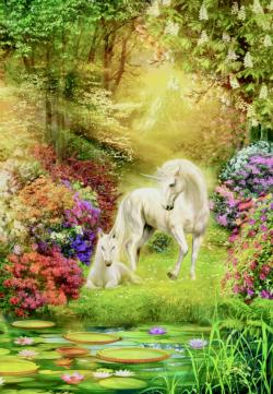 Enchanted Garden Unicorns Unicorns Jigsaw Puzzle