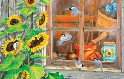 Sunflower Shed Flowers Jigsaw Puzzle