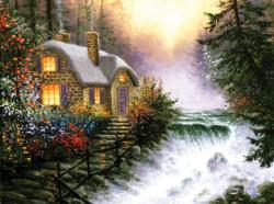 River's Edge Cottage / Cabin Jigsaw Puzzle