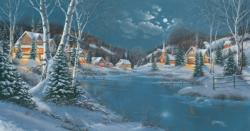 Evening in Winter Cottage / Cabin Jigsaw Puzzle