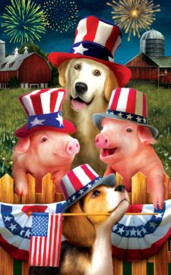 Fourth on the Farm Fireworks Jigsaw Puzzle