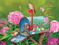 Golden Glory Wrens Flowers Jigsaw Puzzle