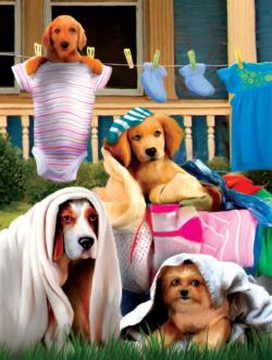 Laundry Helpers Dogs Jigsaw Puzzle